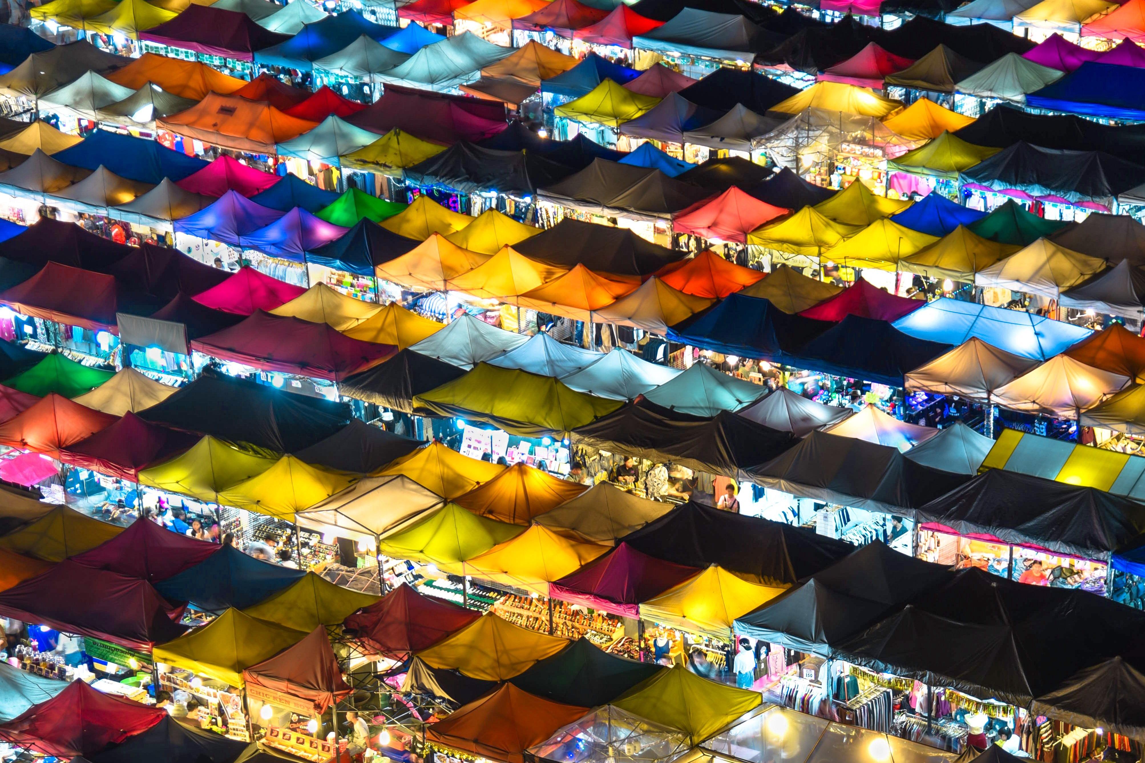 Tented outdoor street market